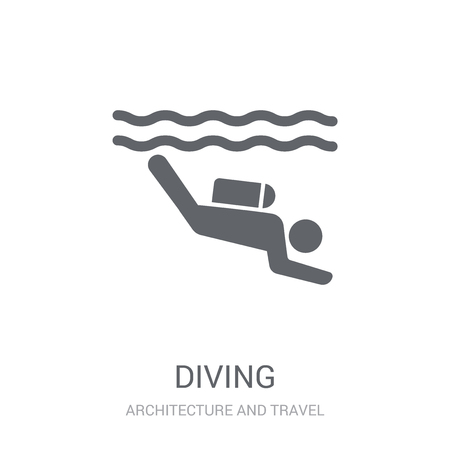 Diving icon. Trendy Diving logo concept on white background from Architecture and Travel collection. Suitable for use on web apps, mobile apps and print media. Stock Vector - 111989526
