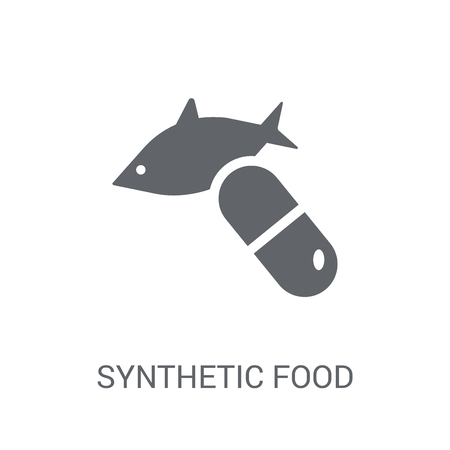Synthetic food icon. Trendy Synthetic food logo concept on white background from Artificial Intelligence collection. Suitable for use on web apps, mobile apps and print media. Çizim