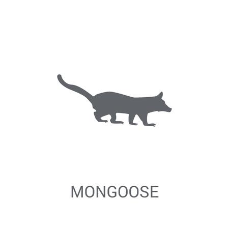 Icono de mangosta. Moda concepto de logo de mangosta sobre fondo blanco de la colección de animales. Adecuado para su uso en aplicaciones web, aplicaciones móviles y medios impresos. Logos