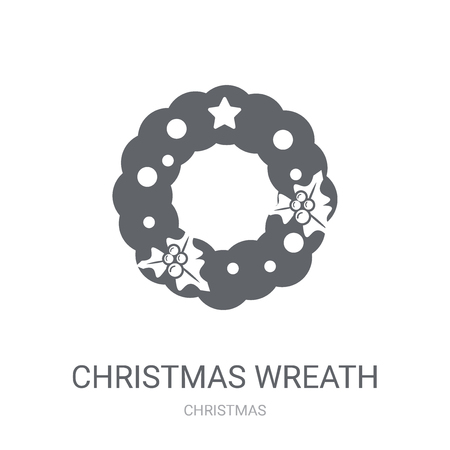 Christmas wreath icon. Trendy Christmas wreath logo concept on white background from Christmas collection. Suitable for use on web apps, mobile apps and print media.