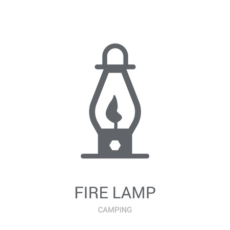 Fire lamp icon. Trendy Fire lamp logo concept on white background from camping collection. Suitable for use on web apps, mobile apps and print media.