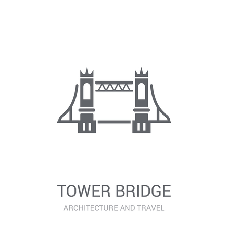 Tower bridge icon. Trendy Tower bridge logo concept on white background from Architecture and Travel collection. Suitable for use on web apps, mobile apps and print media. Illustration