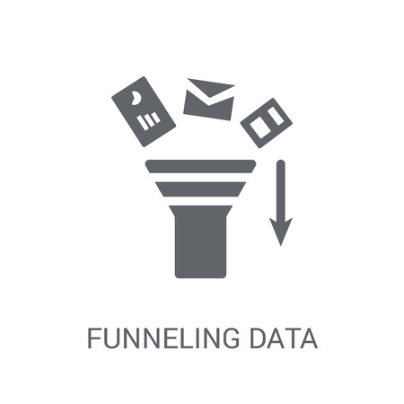 Funneling Data icon. Trendy Funneling Data logo concept on white background from Business and analytics collection. Suitable for use on web apps, mobile apps and print media.