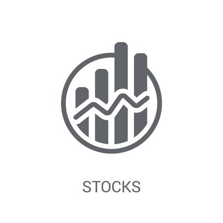 주식 아이콘입니다. Cryptocurrency 경제 및 금융 컬렉션에서 흰색 배경에 유행 주식 로고 개념. 웹 앱, 모바일 앱 및 인쇄 매체에 사용하기에 적합합니다.
