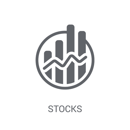 Stocks icon. Trendy Stocks logo concept on white background from Cryptocurrency economy and finance collection. Suitable for use on web apps, mobile apps and print media. Çizim