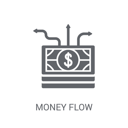 Money flow icon. Trendy Money flow logo concept on white background from Cryptocurrency economy and finance collection. Suitable for use on web apps, mobile apps and print media. Ilustração