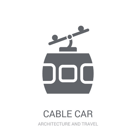 Cable car icon. Trendy Cable car logo concept on white background from Architecture and Travel collection. Suitable for use on web apps, mobile apps and print media. Ilustração