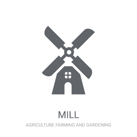 Mill icon. Trendy Mill logo concept on white background from Agriculture Farming and Gardening collection. Suitable for use on web apps, mobile apps and print media. Reklamní fotografie - 111988905