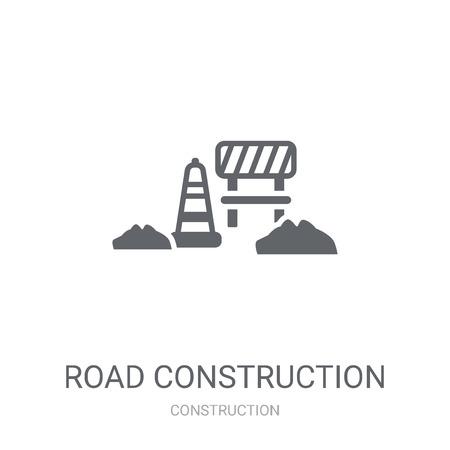道路建設アイコン。建設コレクションから白い背景にトレンディな道路建設ロゴの概念。Webアプリ、モバイルアプリ、印刷メディアでの使用に適しています。 ベクターイラストレーション
