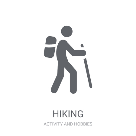 Hiking icon. Trendy Hiking logo concept on white background from Activity and Hobbies collection. Suitable for use on web apps, mobile apps and print media. Logo