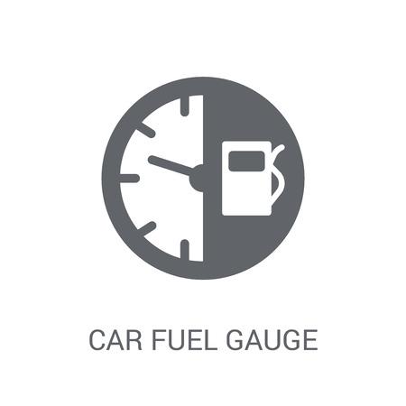 ikona wskaźnika paliwa samochodu. Koncepcja logo modny wskaźnik paliwa samochodu na białym tle z kolekcji części samochodowych. Nadaje się do użytku w aplikacjach internetowych, aplikacjach mobilnych i mediach drukowanych. Logo