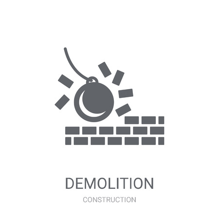 Demolition icon. Trendy Demolition logo concept on white background from Construction collection. Suitable for use on web apps, mobile apps and print media.