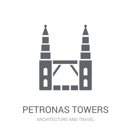 Petronas towers icon. Trendy Petronas towers logo concept on white background from Architecture and Travel collection. Suitable for use on web apps, mobile apps and print media. Illustration