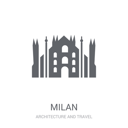 Milan icon. Trendy Milan logo concept on white background from Architecture and Travel collection. Suitable for use on web apps, mobile apps and print media. 免版税图像 - 111988417