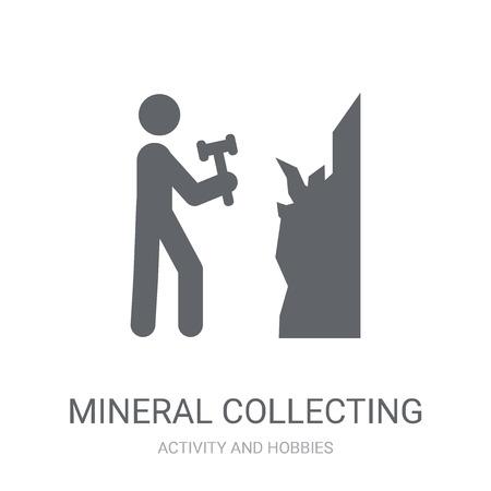 Icona di raccolta di minerali. Concetto di marchio di raccolta minerale alla moda su priorità bassa bianca dalla raccolta di attività e hobby. Adatto per l'uso su app Web, app mobili e supporti di stampa.
