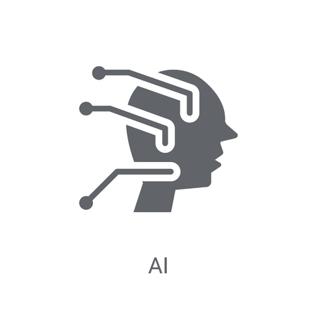 AI icon. Trendy AI logo concept on white background from Artificial Intelligence collection. Suitable for use on web apps, mobile apps and print media.