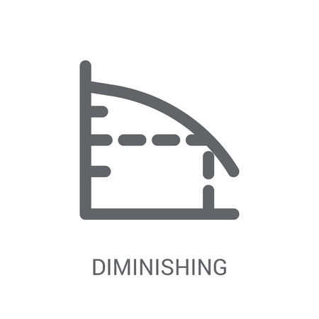 Diminishing returns icon. Trendy Diminishing returns logo concept on white background from business collection. Suitable for use on web apps, mobile apps and print media. Vettoriali