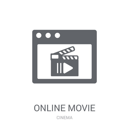 Online movie icon. Trendy Online movie logo concept on white background from Cinema collection. Suitable for use on web apps, mobile apps and print media.
