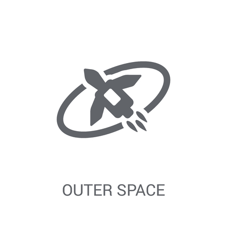 Outer space icon. Trendy Outer space logo concept on white background from Artificial Intelligence collection. Suitable for use on web apps, mobile apps and print media.