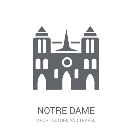 Notre dame icon. Trendy Notre dame logo concept on white background from Architecture and Travel collection. Suitable for use on web apps, mobile apps and print media.  イラスト・ベクター素材