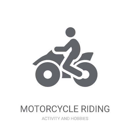 Motorcycle riding icon. Trendy Motorcycle riding logo concept on white background from Activity and Hobbies collection. Suitable for use on web apps, mobile apps and print media.