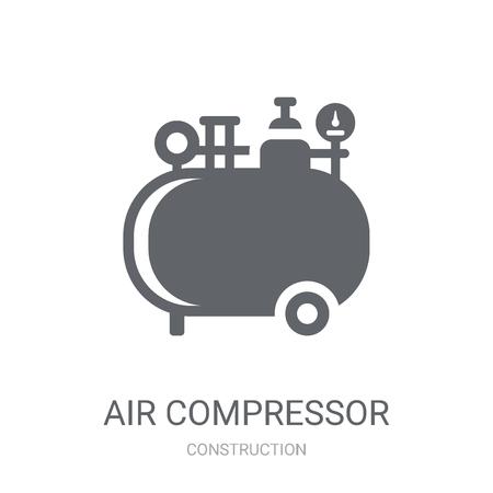 Icona del compressore d'aria. Concetto di marchio trendy compressore d'aria su priorità bassa bianca da collezione di costruzione. Adatto per l'uso su app Web, app mobili e supporti di stampa. Vettoriali