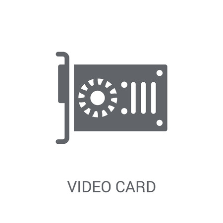 Video card icon. Trendy Video card logo concept on white background from Cryptocurrency economy and finance collection. Suitable for use on web apps, mobile apps and print media. Logo