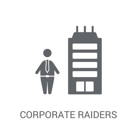 Corporate Raiders-Symbol. Trendiges Corporate Raiders-Logo-Konzept auf weißem Hintergrund aus der Business-Kollektion. Geeignet für den Einsatz in Web-Apps, mobilen Apps und Printmedien.