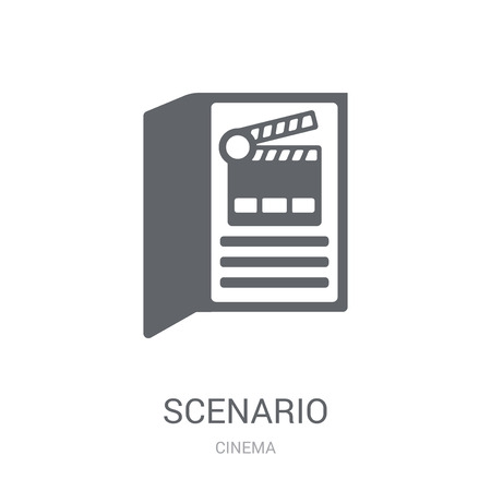 Scenario icon. Trendy Scenario logo concept on white background from Cinema collection. Suitable for use on web apps, mobile apps and print media. Çizim