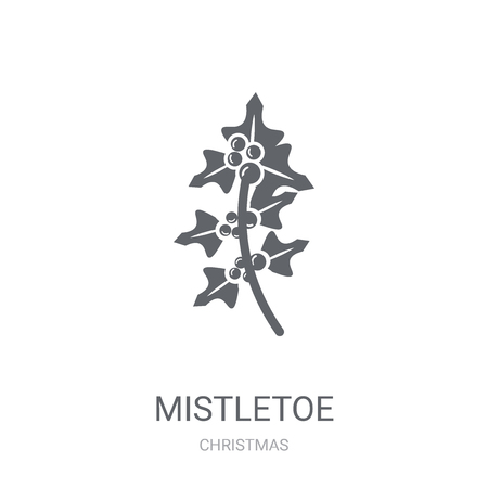 mistletoe icon. Trendy mistletoe logo concept on white background from Christmas collection. Suitable for use on web apps, mobile apps and print media. Banco de Imagens - 111987712