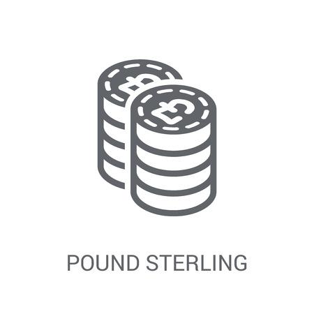 Icône de la livre sterling. Concept de logo à la mode de la livre sterling sur fond blanc de la collection économie et finance de crypto-monnaie. Convient pour une utilisation sur des applications Web, des applications mobiles et des supports imprimés.