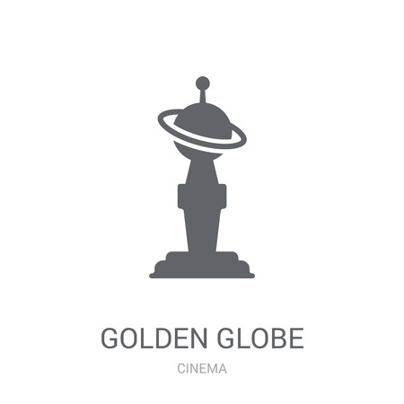 Golden globe icon. Trendy Golden globe logo concept on white background from Cinema collection. Suitable for use on web apps, mobile apps and print media. Illustration