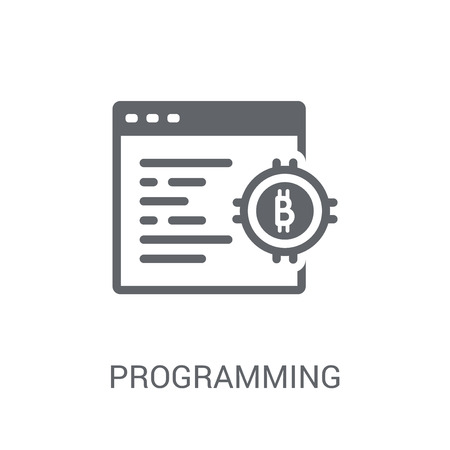 Programming icon. Trendy Programming logo concept on white background from Cryptocurrency economy and finance collection. Suitable for use on web apps, mobile apps and print media. Illustration