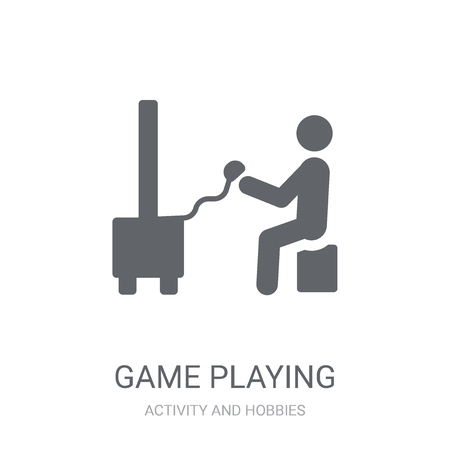 Game playing icon. Trendy Game playing logo concept on white background from Activity and Hobbies collection. Suitable for use on web apps, mobile apps and print media.
