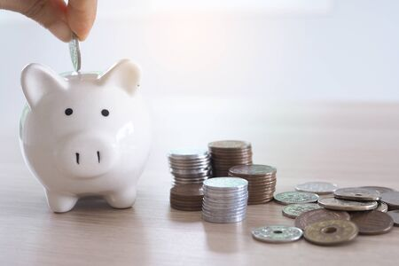 Hands are putting coins into the piggy bank. saving money concept Foto de archivo - 141219265