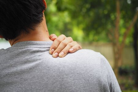 Neck and shoulder pain and muscle injury of man