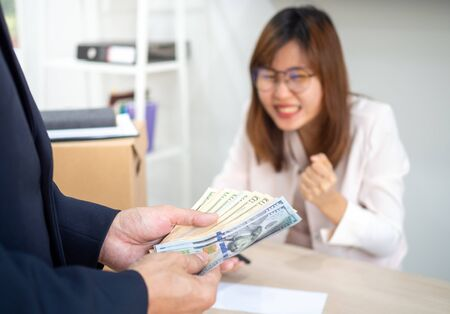 Management is counting bonus money for company employees.