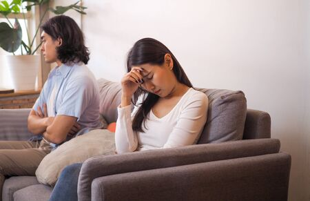 Couples feel angry and sad after fighting family problems Foto de archivo