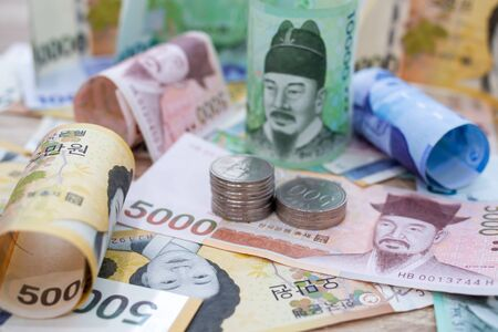 South Korean won currency money exchange. Finance business currency exchange concept. Stockfoto