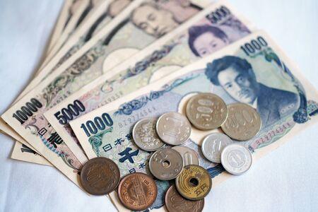 Japanese yen notes and Japanese yen coins for money concept Stock fotó