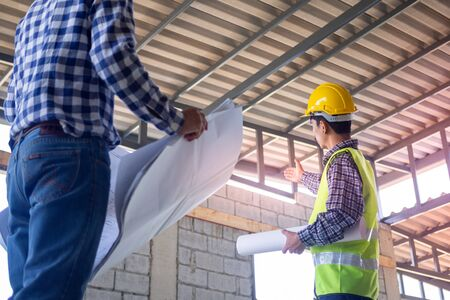 Inspectors check the completeness of the construction of the house. Discuss methods and solve building structure problems with contractors or engineers.