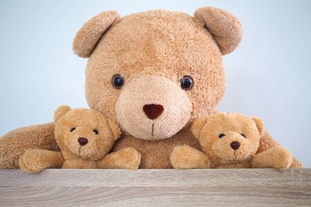 Brown teddy bear family sitting together in a chair in the room.
