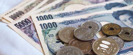 Japanese yen notes and Japanese yen coins for money concept background Reklamní fotografie