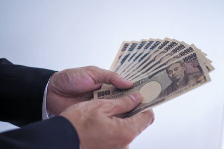 Japanese yen notes for money concept background