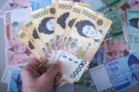 Korean won notes for money concept background Stockfoto