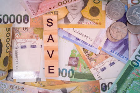 South Korean won and currency money exchange. background of  money and save.