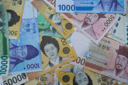 Korean won notes for money concept background