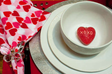 xoxo: Red heart with XOXO on it in bowl