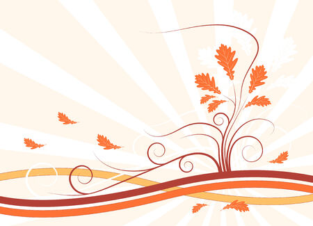 illustrated abstract vector background with autumn colored leaves Stock Vector - 5580944