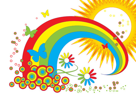 illustrated vector background with rainbow,sun,butterflies and flowers